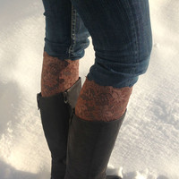 Lace boot cuffs - faux leg warmers - mocha boot toppers - women boot cuffs - teen boot cuffs