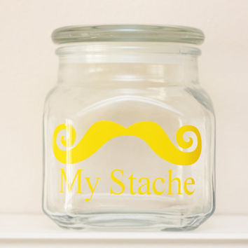 My Stache - MINI - Mustache Money Jar - Curly Handlebar Moustache - YELLOW