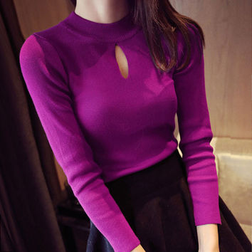 new fashion Autumn spring women stripe slim long-sleeve knitted sweater female pullover girls all-match basic Turtleneck shirt