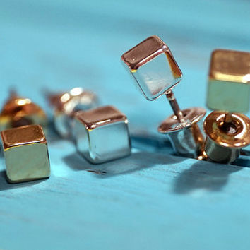 Gold, Rose Gold, Silver plated tiny cube stud earrings (EA00042)