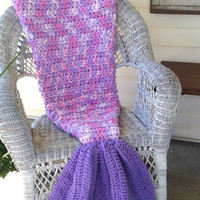 Bulky Mermaid Cocoon Blanket in Shades of Pink Purple
