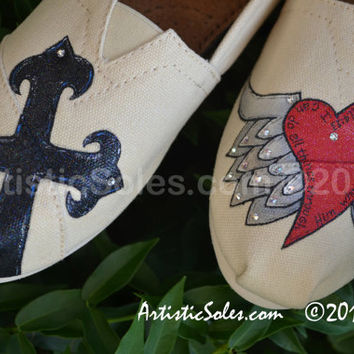 "Custom TOMS Shoes- ""Iron Cross"" with PAINTED heart wings - SILVER"
