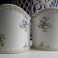 Pair of Wall Sconce Clip-On Shield Shades French Shabby Chic Fabric Chandelier Half Lampshade - Handmade in Italy