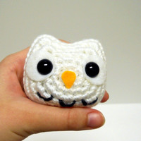Little Owl - Snowy White - Made to Order - Amigurumi Crochet Plushie
