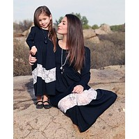 Mommy and Me Black White Lace Maxi Dress