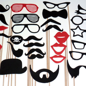 DIY- YOU GLUE - 30 Photo Booth Props Photobooth prop - On a Stick -  Mustache Moustache Party Made to Order