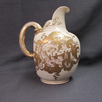 Old Gilded Satin Ivory Flat Back Ewer Pitcher Royal Worcester Style from Austria