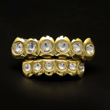 New Style Hip Hop Bling Bling Rhinestone Teeth Grillz Gold Silver Plated Top Bottom Grillz Set Silicone Christmas Vampire Teeth
