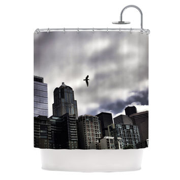 """Sylvia Cook """"Seattle Skyline"""" City Clouds Shower Curtain"""