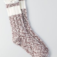 AEO Women's Marled Pointelle Crew Socks
