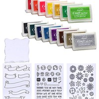 DECORA 15pcs Ink Pads and Clear Stamps Work with Stamp Block