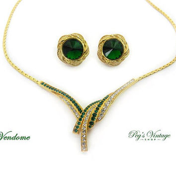 Stunning Rare Demi Parure Set By Vendome / Coro Emerald Green & Clear Crystal Rhinestone Gold Necklace And Earrings
