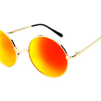 Red Yellow Mirror Lens Retro Metal Round Sunglasses Gold Frame R1584 - Default Title / Medium / Gold/Red/Yellow Lens