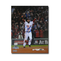 Autographed Dustin Pedroia 2013 World Series Unframed 8x10 last out celebration photo.