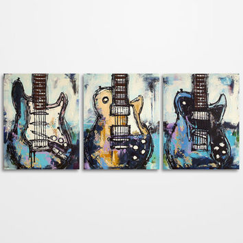 Guitar painting, Music Art, Gift for Musician, Les Paul, Guitar Art, Original Large Abstract Distressed Mixed media Painting on canvas