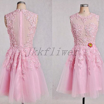 Short Pink See Through Back Prom Dresses,Beautful Applique Tulle Organza Prom Dresses,Short Homecoming Dresses,Junior Girl;s Prom Dresses