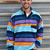 Patagonia Men's Lightweight Synchilla Snap-T Pullover- Painted Fitz Stripe- Navy Blue