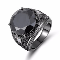 Fashion men Jewelry big men's Simple Black Sapphire male Ring Black Rhodium Plated Engagement Ring