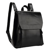 MapleClan British Style Women's Faux Leather PU Backpack Black