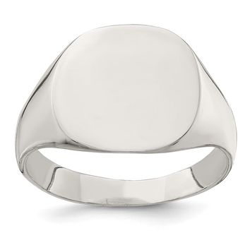925 Sterling Silver 14x15mm Closed Back Signet Ring