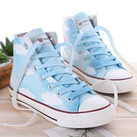 Cute clouds painted canvas cotton shoes