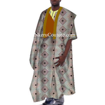 Traditional African Clothing Robe Dashiki African Print Wax Men Loose Half Sleeve Thobe Print YN809