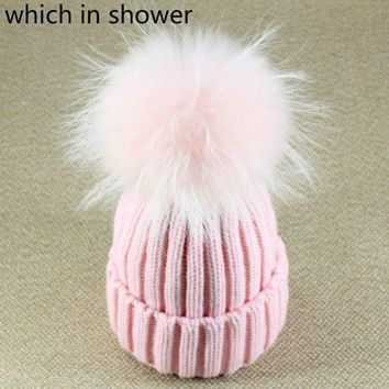 Which in shower 15cm Big Real Fox Fur Pompom Winter Hat Wool Beanies Brand Thick Warm Female Cap With Fur Mink Ball Top