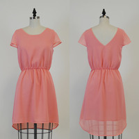 Lexi (Rose Gold) : Rose Gold Pink chiffon dress, high low skirt, cap sleeves, day to night, bridesmaid