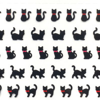 Kawaii Cat Stickers - Japanese Stickers - Japanese Cat Stickers -  Mini Black Cats - Cats And Bows (S43)