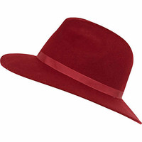 Dark red ribbon trim fedora hat