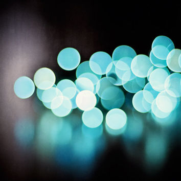 "Bokeh Photography, aqua blue lights, abstract sparkle print, dark black teal turquoise, holiday decor, circles wall art, ""Illuminate"""