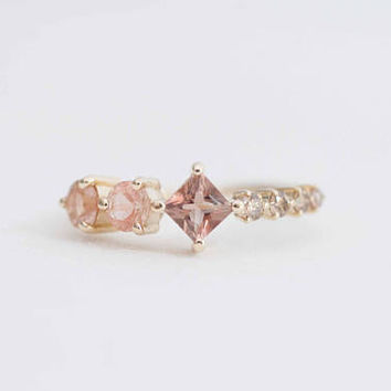Champagne Sunstone + Diamond Cluster Line Engagement Ring | 14k Recycled Gold | One of a Kind