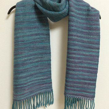 Handwoven Scarf, Muffler, Merino Wool and Baby Alpaca, Emerald and Purple
