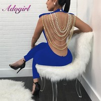 Adogirl 2018 Fashion Sexy Backless pearls Jumpsuit Sleeveless Hollow Out Bandage Women Elegant Rompers Combinaison