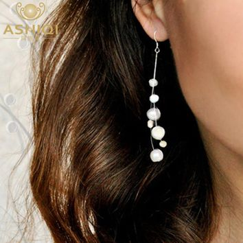 Authentic Natural Baroque Freshwater Pearl  sterling silver Tassel Drop Earrings