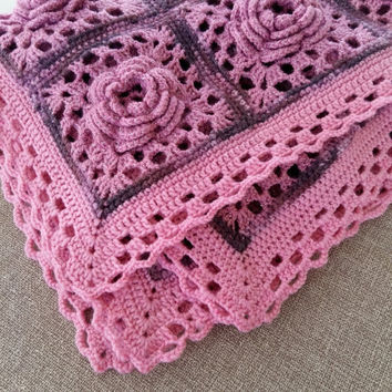 Baby afghan/ baby blanket /crocheted baby blanket with 3d roses, pink + gift mom's necklace