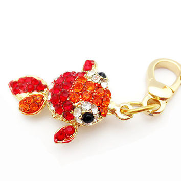 Goldfish Charm Red Crystals Juicy Couture Style - In Gift Bag