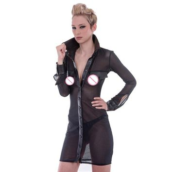 Fetish Dress Sexy Sheer Transparent Mesh Shirt Dress Turn Down Collar See Through Night Party Pole Dance Stripper Clothes M-XXL