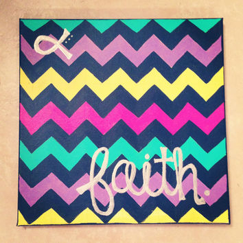 "Chevron ""Faith"" Canvas Painting"