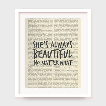 Gift For Her, She's Always Beautiful, No Matter What, Printable Gift For Women, Quote on Dictionary Page, Instant Download