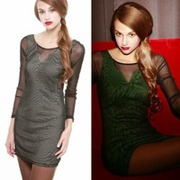 Women See-through Mesh Patchwork Scoop Back Hip-wrapped Sexy New Mini Dress Tops