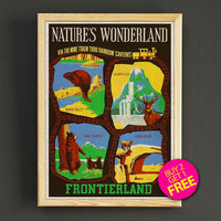 Vintage Disneyland Attraction Poster Frontierland Natures Wonderland Print Home Wall Decor Gift Linen Print - Buy 2 Get 1 FREE - 377s2g
