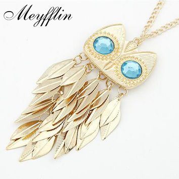 Meyfflin Fashion Long Necklace for Women Collier Vintage Gold Color Crystal Leaf Owl Pendant Necklaces Collares kolye Jewelry
