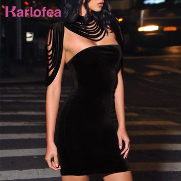 Karlofea New Female Sleeveless Dress Spring Sexy Club Solid Black Wine Dress Removable Collar Stretch Velvet Party Mini Dress