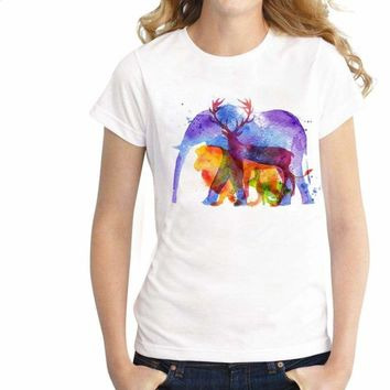 illusory Elephant Funny Lovely Animal Loose Women Round Neck Short Sleeve Print T-shirt Tops Tees