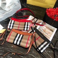 Burberry Vintage Check And Leather Crossbody Bags #436