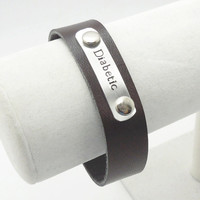 Medical alert bracelet - Diabetic alert bracelet - Metal and leather medical alert diabetes bracelet