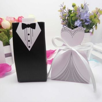 50 pcs/set Black & white Candy Gift Boxes With Ribbon for Wedding Party Favor