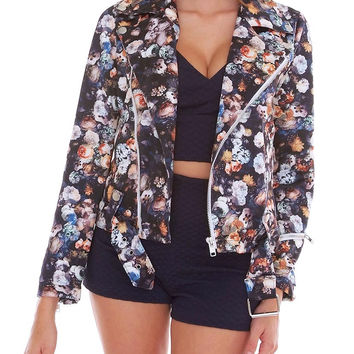 Pretty Sweet Scuba Moto Jacket - Black/Floral