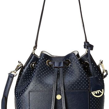 Michael Michael Kors Greenwich Medium Perforated Leather Bucket Bag Navy